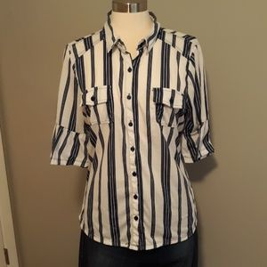 French Laundry Button Down 3/4 Bell Sleeve Size XL